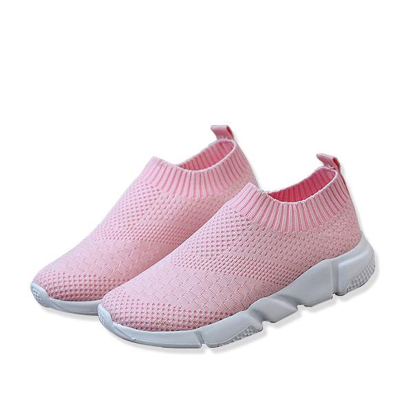SHE008 純色透氣網布休閒懶人鞋
