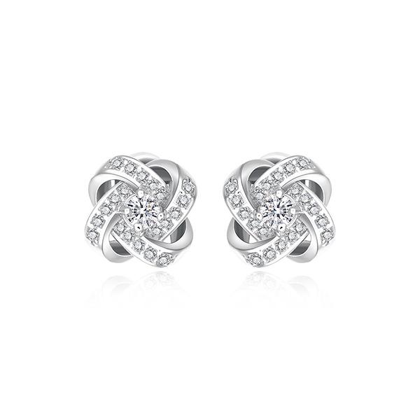 STK467 【專區3件★85折】韓版簡約交錯水鑽 黏式耳環