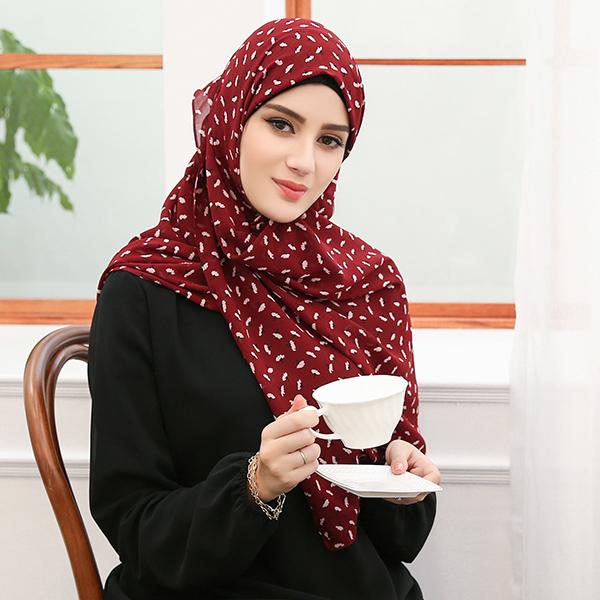 HJB003 穆斯林雪紡休閒多色印花款長頭巾