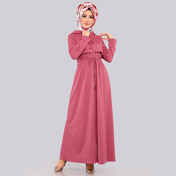DRS036 穆斯林氣質連帽拉鍊外套連衣裙