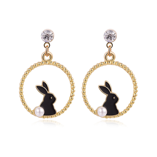 STK376 甜美可愛黑白小兔 黏式耳環