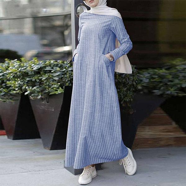 DRS041 文藝百搭棉麻條紋連衣裙