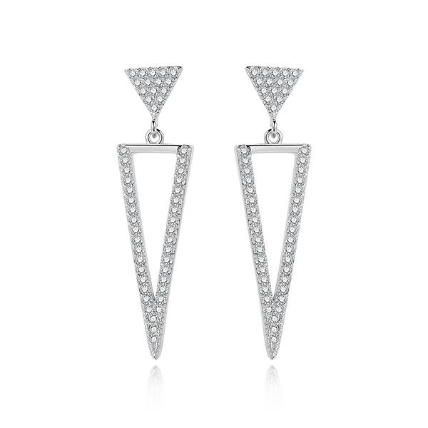 STK488 氣質簡約精緻三角形鑲鑽 黏式耳環