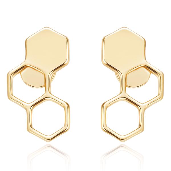 STK225 時尚幾何設計蜂巢 無耳洞黏貼式耳環