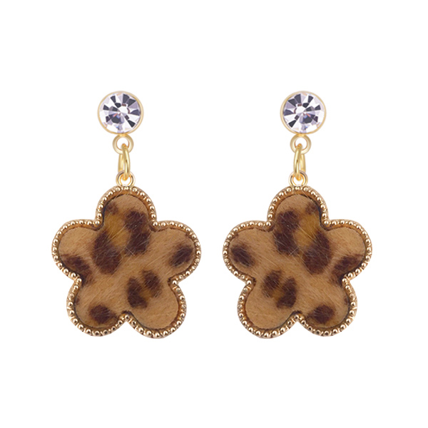 STK425 【2件折50元】韓版豹紋幾何圖形黏式耳環