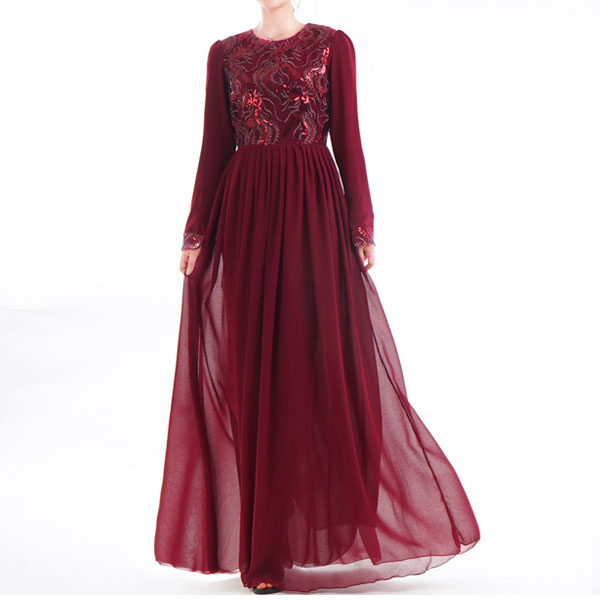 SDR016 穆斯林珠片刺繡雪紡連衣長裙