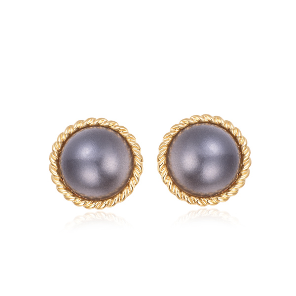 STK201 簡約復古灰色大珍珠黏式耳環