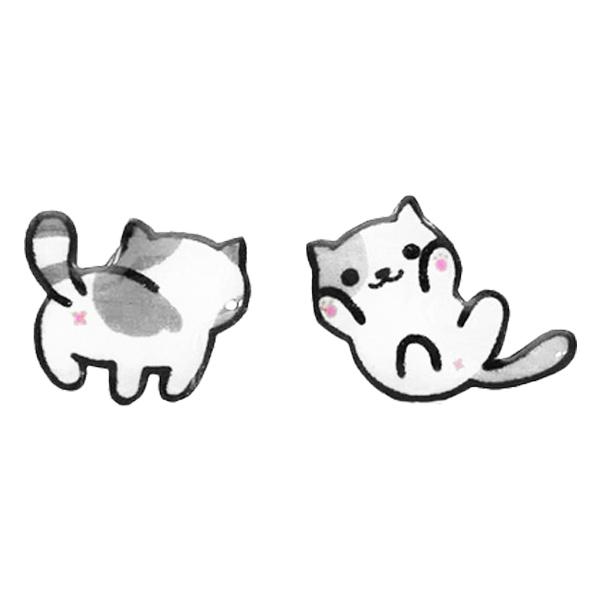 STK257 可愛萌寵小貓不對稱 無耳洞黏貼式耳環