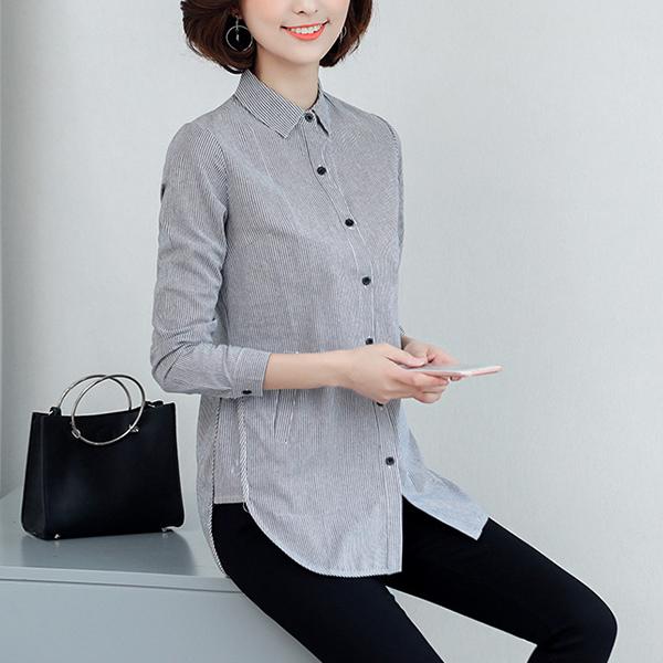TST095 休閒長版直條紋長袖襯衫