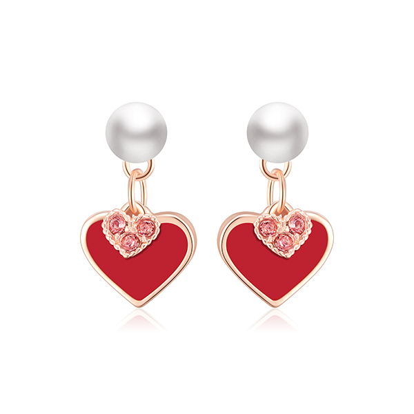 STK267 甜美心形珍珠 耳針/黏式耳環