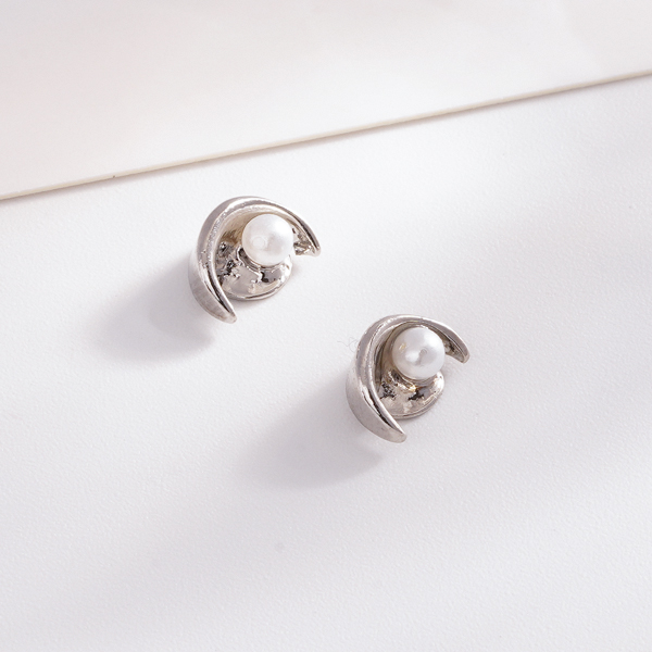 STK150 月牙彎彎珍珠 耳針/無耳洞黏貼式耳環
