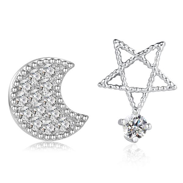 STK012 精巧可愛不對稱月亮小星星鋯鑽 耳針/無耳洞黏貼式耳環