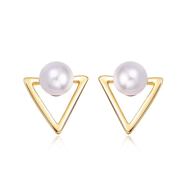 STK136 簍空金三角珍珠 耳針/黏式耳環