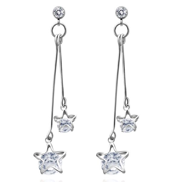 STK094 復古浪漫雙星亮鑽 耳針/無耳洞黏貼式耳環