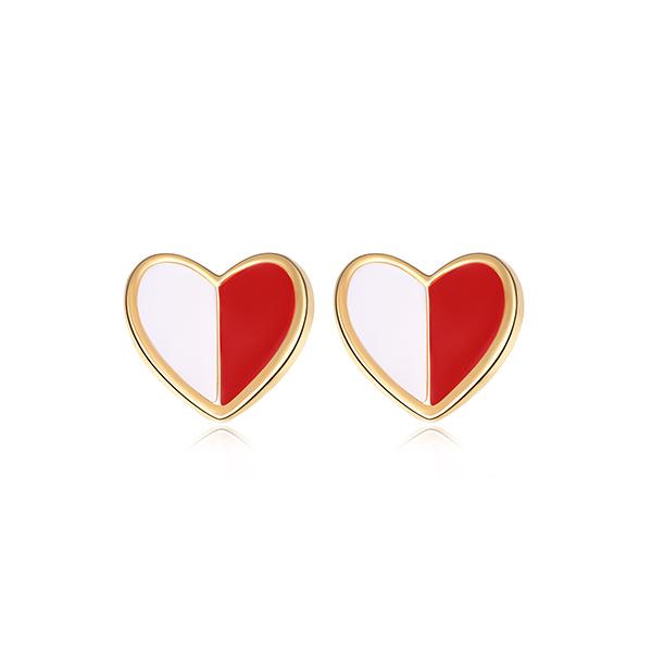 STK341 個性迷你拼色愛心 黏式耳環