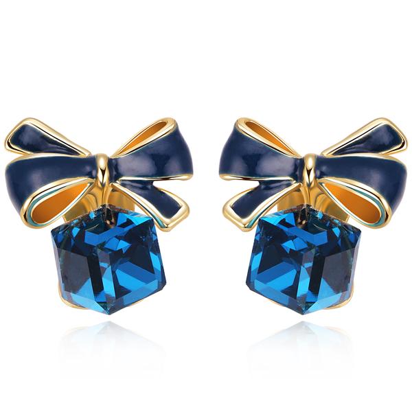 STK157 浪漫方塊水晶蝴蝶結 耳針/無耳洞黏貼式耳環