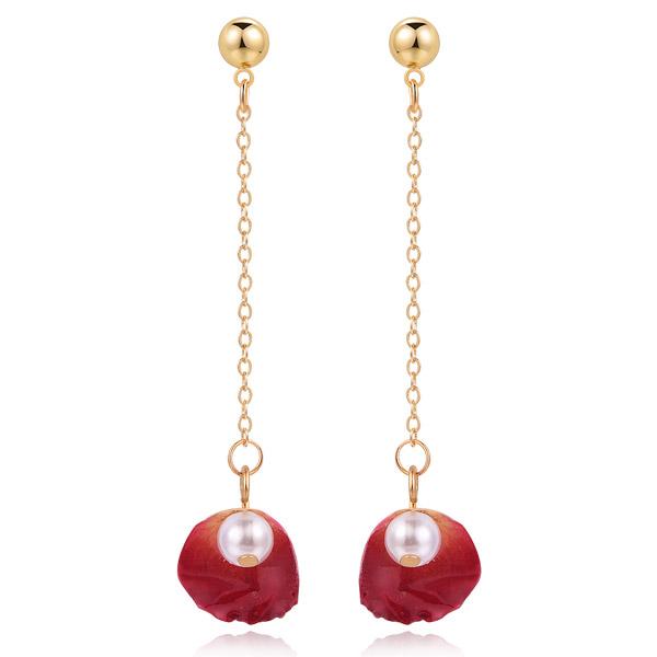 STK517 珍珠乾燥玫瑰花瓣 耳針/無耳洞黏貼式耳環