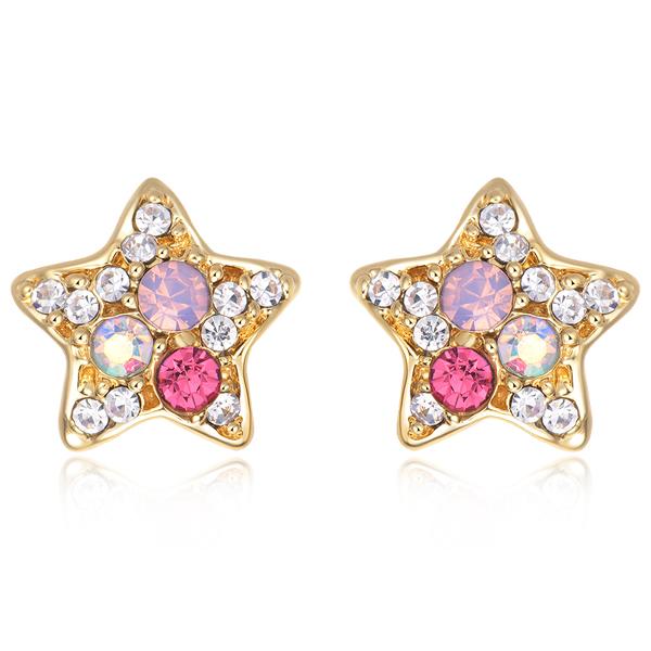 STK155 炫彩亮鑽可愛星星 無耳洞黏貼式耳環