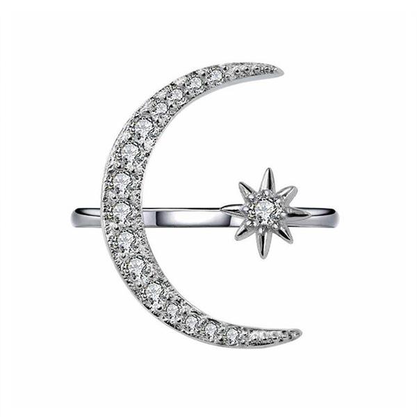 RNG013 月牙星星鑲鑽指環