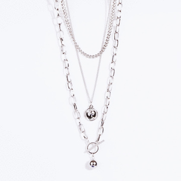 銀光頭像鐵片鎖鏈多層次項鍊