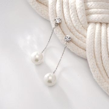 簡約高雅珍珠鋯鑽 耳針/無耳洞黏貼式耳環
