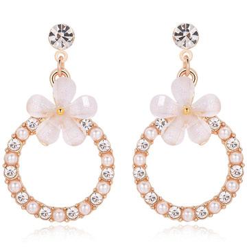 氣質花朵珍珠圓環鑲鑽 耳針/無耳洞黏貼式耳環