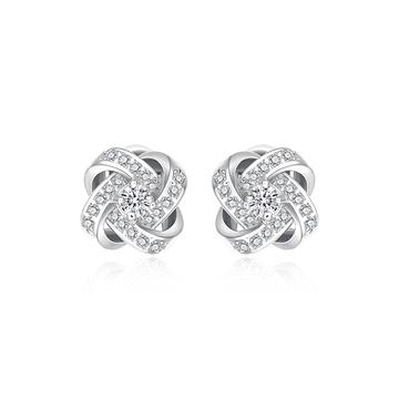 韓版簡約交錯水鑽 黏式耳環