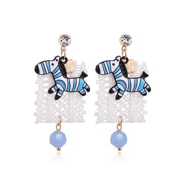 萌趣蕾絲藍色斑馬 耳針/黏式耳環