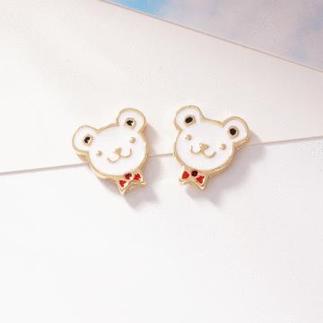 可愛領結小熊 耳針/無耳洞黏貼式耳環