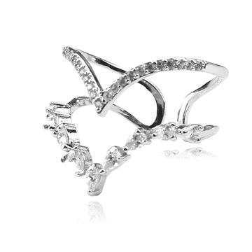 韓版幾何曲線亮鑽開口戒指