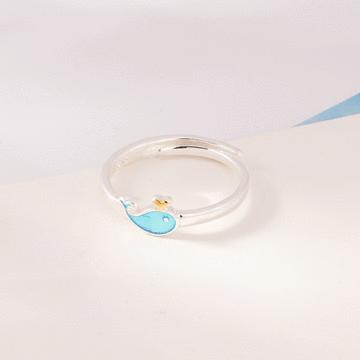 可愛萌趣小藍鯨開口戒指