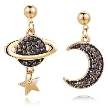 耀眼月亮宇宙星星 無耳洞黏貼式耳環