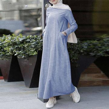 文藝百搭棉麻條紋連衣裙