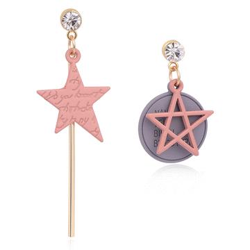 日系少女粉色五角星不對稱 耳針/無耳洞黏貼式耳環