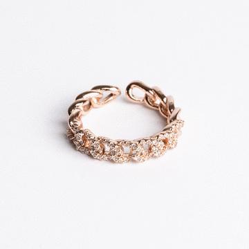 典雅麻花鑲鑽開口戒指