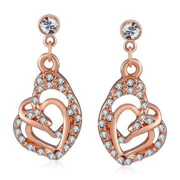 時尚個性造型愛心鑲鑽黏式耳環
