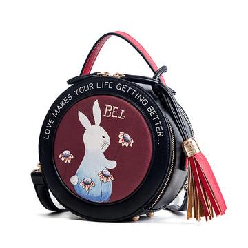 可愛白兔流蘇手提小圓包