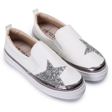 MIT台灣製-星星造型皮革質感懶人鞋