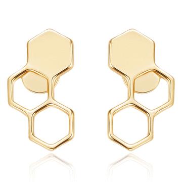 時尚幾何設計蜂巢 無耳洞黏貼式耳環