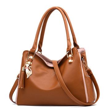 純色優雅荔枝紋軟皮手提包
