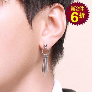 【第2件6折】韓版個性圓環三棍 耳針/無耳洞黏貼式耳環