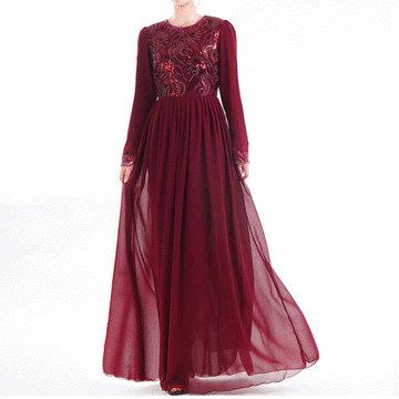穆斯林珠片刺繡雪紡連衣長裙