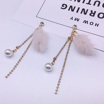 珍珠水貂毛鍊條流蘇 耳針/黏式耳環