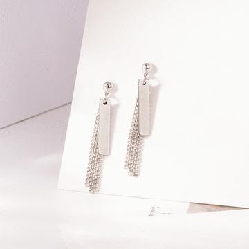 韓版簡約鏈條金屬片 耳針/無耳洞黏貼式耳環