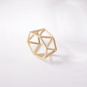 個性簍空三角開口戒指