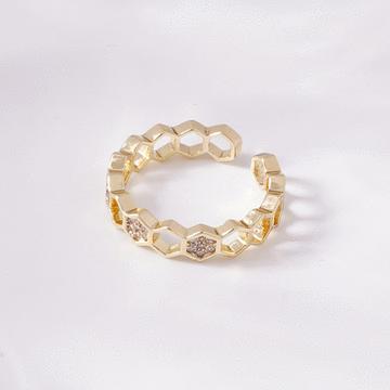 個性鑲鑽蜂巢形開口戒指