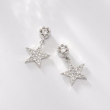 時尚個性五角星鋯鑽 耳針/無耳洞黏貼式耳環