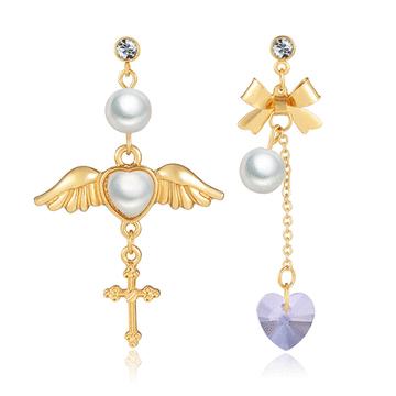 天使翅膀桃心水晶玻璃不對稱黏式耳環