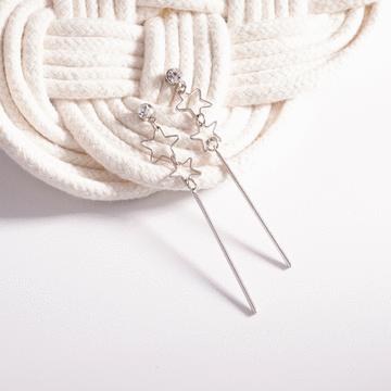 日韓雙星一字墜 無耳洞黏貼式耳環