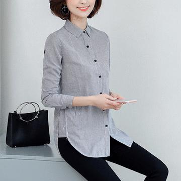 休閒長版直條紋長袖襯衫